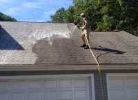 roof cleaning during